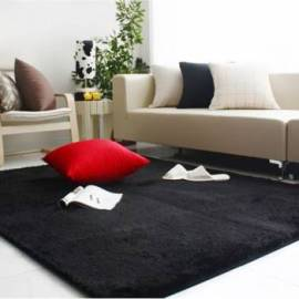Black modern microfiber high pile carpet Jumkids