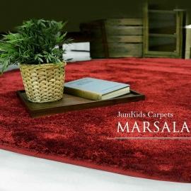 Круглый красный ковёр с мягким высоким ворсом JumKids винного цвета Sweet Marsala