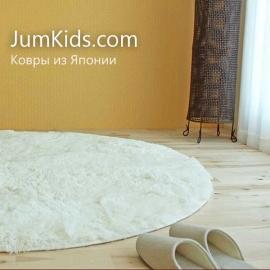 Овальный белый ковёр Jumkids с ворсом