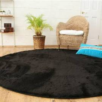 Круглый ковер черного цвета Round Black Carpet